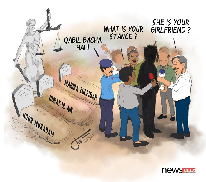 Creative Director Sohail Inayat's latest cartoon captures the #insensitivity of the media towards the #NoorMukaddam #murder case and how it fails to ask relevant questions