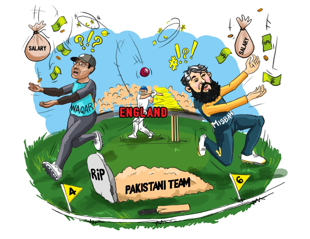 Creative Art Director Sohail Inayat, hits it out of the park with his latest cartoon on the Misbah-Waqar condundrum